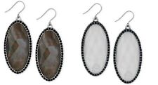 Lucky Brand Large Oval Stone and Pavé Drop Earrings new