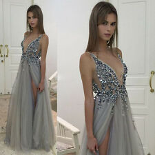 Evening Dresses Beading Beaded Bridesmaids' Formal Ball Gowns Sleeveless V Neck