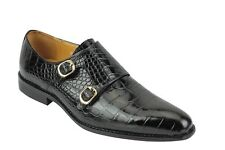 Mens Real Leather Polished Crocodile print Black Monk Strap Loafers Formal Shoes