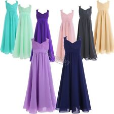 Floor-length Junior Flower Girl Bridesmaid Dress Chiffon/Lace Size4-14 years old