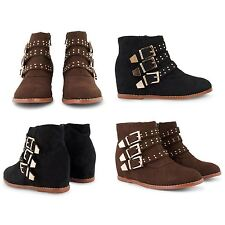 NEW DOLCIS LADIES WOMENS FAUX SUEDE STUDDED HIDDEN WEDGE HEEL ANKLE BOOTS SHOES