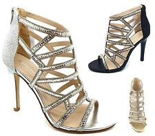 WOMENS STRAPPY STILETTO HIGH HEEL LADIES CUT OUT DIAMANTE PARTY SANDALS SHOES