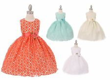 New Flower Girl Burn Out Lace Dress Pageant Wedding Party Elegant Fancy 1223