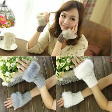 Warmer Hand Wool Mittens Winter Faux Rabbit Fur Wrist Gloves Fingerless