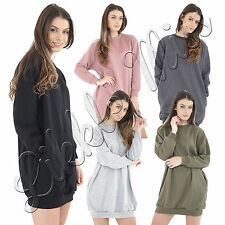 Womens Oversized Baggy Loose Fit Ladies Side Pockets Sweatshirt Tunic Dress Top