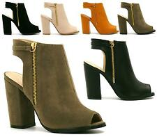 LADIES FAUX SUEDE LEATHER PEEP TOE ZIP CUT OUT CASUAL WORK ANKLE BOOTS SHOES