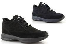 Men sneakers high suede black blue winter sports lace-up made in italy