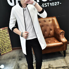 Stylish Men's Coat Casual Outwear PU Leather Slim Trench Coat Long Jacket