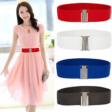 Womens Buckle Wide Stretch Elastic Waist Belts Corset Solid Color Waistband