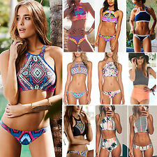 Womens High Neck Bikini Set Bandage Push-Up Padded Swimwear Swimsuit Bather