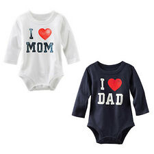 I Love MOM/DAD Printed Summer Toddler Baby Romper Jumpsuit Infant Shirt Clothes