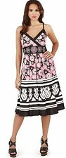Pretty Ladies Floral Striped Print Cross Over Strappy Sun Dress, Pink or Blue