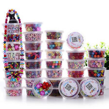 Mix Colour Charm Jewelry Beads HairBand Necklace Bracelet Set Kids Crafts DIY