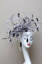 New Large Silver & Black Fascinator Hat/choose any colour satin & feather colour