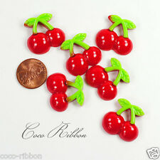 24mm Sweet Cherry Flatback Resin Cabochons - 12/24/50 pieces