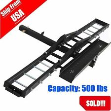 600LB HD Motorcycle  Bike Hitch Mount Rack Carrier Hauler Loading Ramp US STOCK