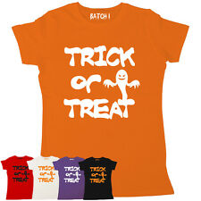 HALLOWEEN SPOOKY TRICK OR TREAT GHOST WOMENS PRINTED FANCY DRESS PARTY T-SHIRT