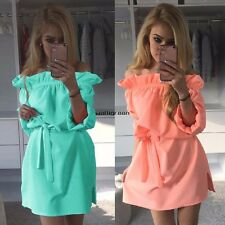 New Fashion Women Ruffles Slash Neck Off Shoulder Summer Casual Mini Dress BF WN