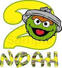 Easy Iron on Sesame Street Personalized Oscar The Grouch T Shirt Transfer