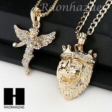 MEN ICED OUT ANGEL & KING LION PENDANT BOX CUBAN CHAIN DOUBLE NECKLACE SET SD05