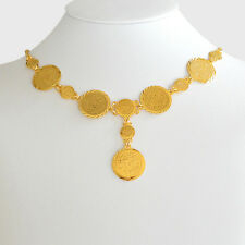 "Arabic Coin Necklace Pendant 24k Gold Plated Middle East Coin Jewelry 17"" - 24"""