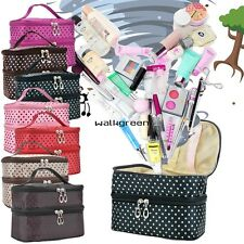 Double Layer Portable Cosmetic Case Women Beauty Makeup Hand Case Bag Pouch WN