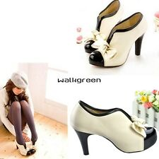 Women Beige Sexy High Heel Tie Platform Bow Pump Fashion Ankle Shoes Boots WN