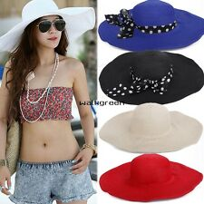 New Hot Summer Fashion Big Wide Brim Beach Sun Cap Straw Weave Hat Sun Hat WN