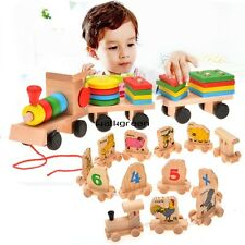 Stacking Train Wooden Toys Baby Kid Building Blocks Geometric Stacker CaF WN
