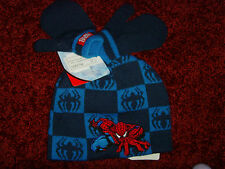 NEW Spiderman Toddler Preschool size boys 2t 3t 4t hat and gloves BLUE set NWT