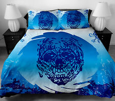 4 Pcs Skull Pattern Bedding Sets Full Size Duvet Cover Bed Sheet with Pillowcase