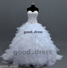 New Hot White/Ivory Bride Wedding Dress Bridal Gown Size6 8 10 12 14 16 18 20 22