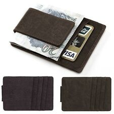 Mens PU Leather Money Clip Slim Purse Wallets ID Credit Card Holder Bifold WN