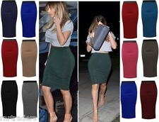 Womens Plain Office party Work Pencil Ladies Stretch Bodycon Midi Skirt-lng wigl