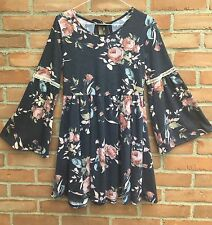 NWOT Easel Anthropologie Denim Blue French Terry Knit Rose Print Dress SZ S-M-L