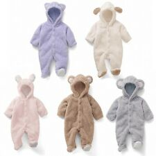 Cute Baby Boys Girls Soft Fleece Warm Hooded Romper Jumpsuit Bodysuit 0-12M