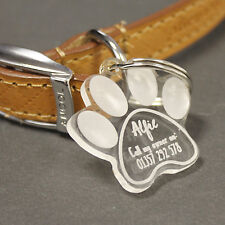 Personalised Dog Tag | Custom Engraved Pet ID Tags | Paw Print Shaped, Dog, Cat