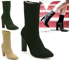 LADIES WOMEN CELEBRITY KNITTED STRETCH ANKLE BLOCK HIGH HEEL BOOT SHOES SIZE 3-8