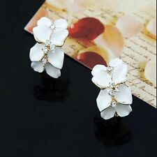 White Enamel Lovely Crystal Gardenia Flower Ear Stud Earrings With Buckle