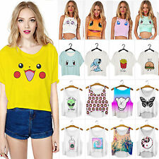 Women's Pokemon Tank Crop Top T-shirts Vest Sleeveless Casual Tee Blouse Shirts