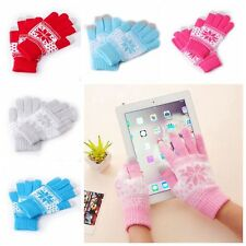 Soft Fashion Men Women Touch Screen Gloves Knitted Snowflake Warm Winter