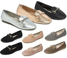 NEW WOMENS LADIES LOAFER FLAT SHOES OFFICE WORK GOLD METAL SCHOOL SIZE