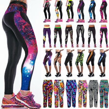 Womens Print Yoga Gym Pants Workout Sports Cropped Tight Leggings Fitness Jogger