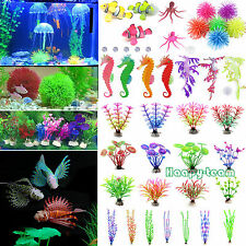 Artificial Glow Fish Grass Silicone Plants Coral Ornament Aquarium Fish Tank