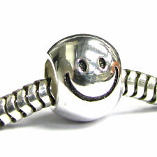 Sterling Silver Smiley Happy Face Big Head for European Charm Bracelets