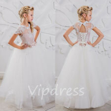 Flower Girl Dresses Lace Appliques Beads Prom Pageant Communion Ball Gowns 2017