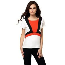 Stylish Ladies Women Casual Short Sleeve Patchwork Top Blouse WN
