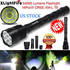 US 34000LM Super Bright 14x XML T6 5Modes LED Flashlight 18650 Torch XLightFire