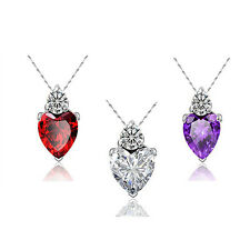Mum Wife Silver Plated Gift Women Necklace Pendant Crystal Love Heart