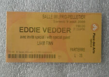 Eddie Vedder Montreal 2008 concert ticket Into The Wild Pearl Jam. not LP poster